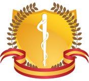 Símbolo médico del caduceo - Stylized con el blindaje Imágenes de archivo libres de regalías