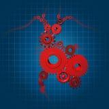 Símbolo médico del corazón de la función de los engranajes humanos de las válvulas Imagenes de archivo