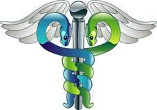 Símbolo médico del doctor del caduceo Imagen de archivo libre de regalías