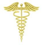 Símbolo médico del oro del caduceo Foto de archivo libre de regalías