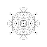 Símbolo místico abstrato da geometria Vector o sinal linear da alquimia, oculto e filosófico Foto de Stock Royalty Free