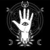 Símbolo místico: la mano humana en una guirnalda tiene un ojo divino todo-que ve libre illustration