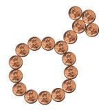 Símbolo masculino da moeda fotografia de stock
