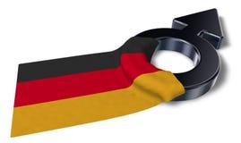 Símbolo masculino e bandeira de Alemanha ilustração royalty free