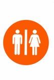 Símbolo masculino e fêmea do toalete como o fundo branco fotos de stock royalty free