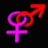 Símbolo masculino/femenino Imagen de archivo libre de regalías