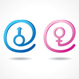 Símbolo masculino y femenino dentro del icono del mensaje Imagen de archivo