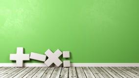Símbolo matemático contra la pared verde stock de ilustración