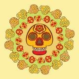 Símbolo mexicano del día de fiesta - calavera, rodeado por cráneos más pequeños stock de ilustración
