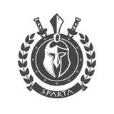 Símbolo militar, casco espartano en guirnalda del laurel stock de ilustración