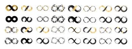Símbolo negro del infinito, de la eternidad o de Moebius del vector del movimiento del cepillo stock de ilustración