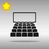 Símbolo negro del logotipo del botón del icono del cine Foto de archivo libre de regalías