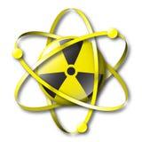 Símbolo nuclear radiactivo con los electrones Foto de archivo libre de regalías