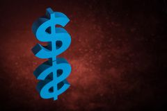 Símbolo o muestra azul de moneda de los E.E.U.U. con la reflexión de espejo en Dusty Background rojo fotos de archivo libres de regalías