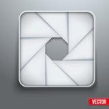 Símbolo objetivo de la fotografía del icono de la abertura de la cámara stock de ilustración