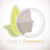 Símbolo orgánico de los cosméticos para todos los productos para el cuidado de la piel naturales Foto de archivo libre de regalías