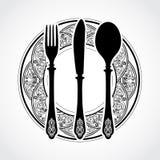 Símbolo ornamental elegante de la bifurcación y de la cuchara del cuchillo Fotos de archivo