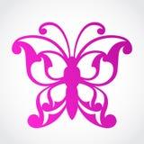 Símbolo ornamental rosado hermoso de la mariposa Fotografía de archivo
