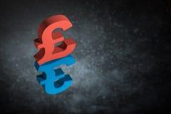 Símbolo ou sinal britânico vermelho e azul de moeda com reflexão de espelho em Dusty Background escuro ilustração do vetor