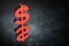Símbolo ou sinal vermelho de moeda dos E.U. com reflexão de espelho em Dusty Background escuro fotografia de stock