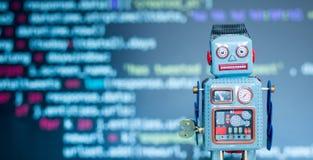 Símbolo para um chatbot ou um bot social e algoritmos, código do programa no fundo imagens de stock royalty free