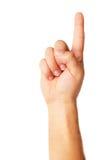 Símbolo poiting de la mano aislado en el fondo blanco Fotografía de archivo