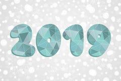 símbolo poligonal 2019 Ejemplo del triángulo del extracto de la Feliz Año Nuevo Fondo de la Navidad con los copos de nieve Vector Imagen de archivo