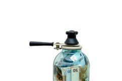 Símbolo-preservando o dinheiro europeu em um frasco de vidro Imagens de Stock Royalty Free