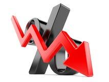 Símbolo preto dos por cento com uma seta para baixo Fotografia de Stock Royalty Free