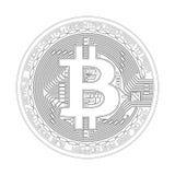 Símbolo preto e branco do bitcoin cripto da moeda Imagens de Stock Royalty Free