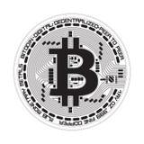 Símbolo preto e branco do bitcoin cripto da moeda Fotos de Stock Royalty Free