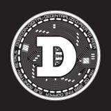 Símbolo preto e branco do dogecoin cripto da moeda Imagens de Stock Royalty Free