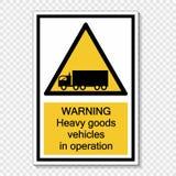 Símbolo que adverte veículos de bens pesados na etiqueta do sinal da operação no fundo transparente ilustração do vetor