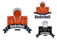 Símbolo que se divierte o emblema del juego de baloncesto Foto de archivo libre de regalías