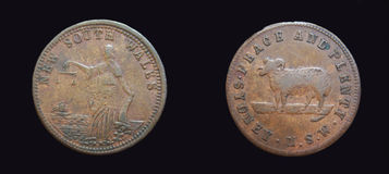 Símbolo raro australiano da moeda de um centavo de Novo Gales do Sul Foto de Stock Royalty Free