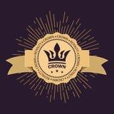 Símbolo real do vintage do poder e da riqueza Raios dourados da glória e estrelas Fita curvada para o texto Imagens do vetor ilustração stock