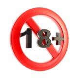Símbolo redondo del límite de edad (18+) aislado Foto de archivo