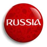 Símbolo redondo rojo del fútbol de Rusia Foto de archivo libre de regalías