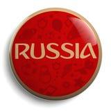 Símbolo redondo rojo del fútbol del texto de Rusia Foto de archivo