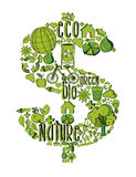 Símbolo rico verde com ícones ambientais Fotografia de Stock Royalty Free