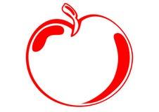 Símbolo rojo de la manzana stock de ilustración