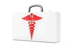 Símbolo rojo del caduceo delante de los primeros auxilios Kit Case representación 3d Imagen de archivo