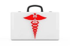 Símbolo rojo del caduceo delante de los primeros auxilios Kit Case representación 3d Fotos de archivo libres de regalías