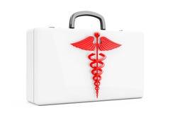 Símbolo rojo del caduceo delante de los primeros auxilios Kit Case representación 3d Fotografía de archivo