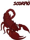 Símbolo rojo del escorpión aislado en blanco Foto de archivo libre de regalías