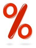 Símbolo rojo del porcentaje Imagen de archivo libre de regalías