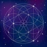 Símbolo sagrado de la geometría en fondo del espacio Imagen de archivo libre de regalías