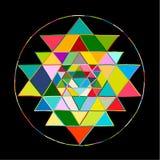 Símbolo sagrado Sri Yantra de la geometría y de la alquimia Bosquejo dibujado mano para su diseño stock de ilustración