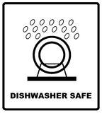 Símbolo seguro del lavaplatos aislado Muestra segura aislada, ejemplo del lavaplatos del vector Símbolo para el uso en la disposi stock de ilustración