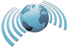 Símbolo sin hilos de la banda ancha de la tierra del wifi del mundo Imágenes de archivo libres de regalías